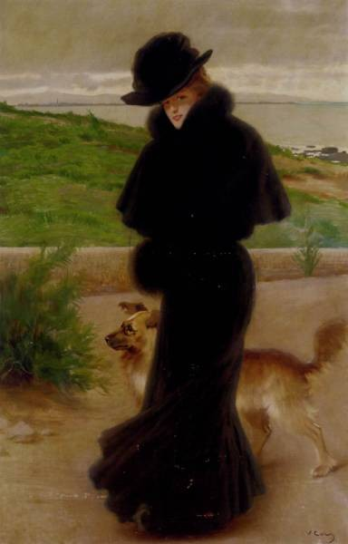 Matteo An Elegant Lady With Her Faithful Companion By The Beach